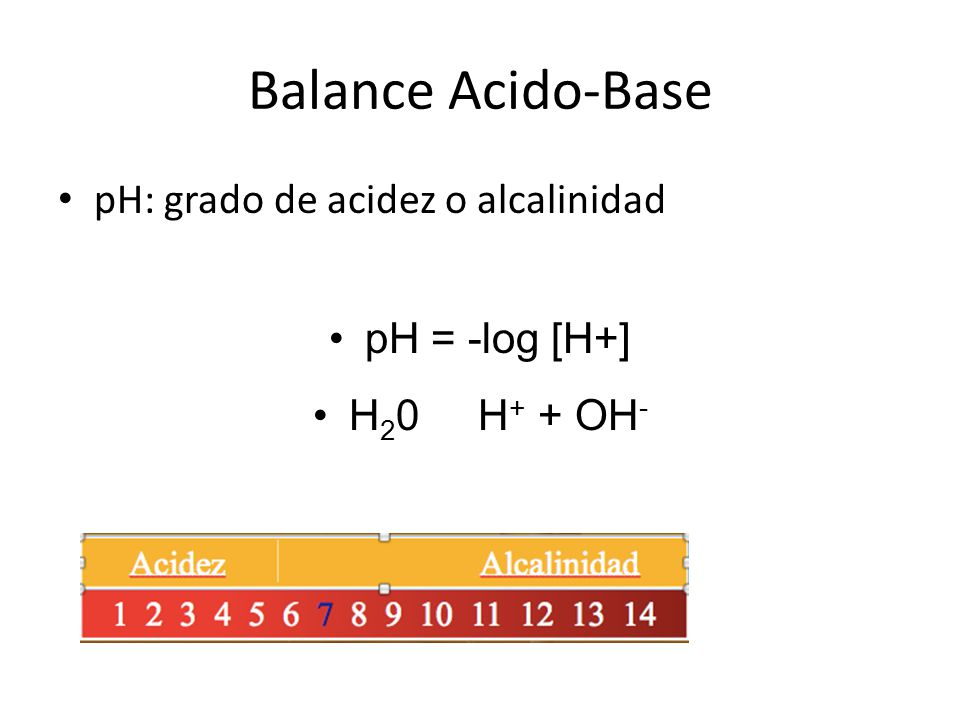 Balance Acido-Base pH: grado de acidez o alcalinidad pH = -log [H+]
